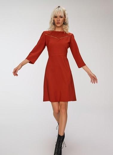 People By Fabrika Şerit Detaylı Elbise Kiremit